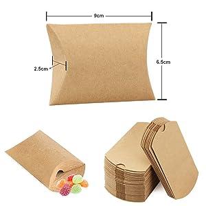 Tamaño de bolsas Kraft regalos (después de doblar): 9 cm x 6,5 cm x 2,5 cm (3,5