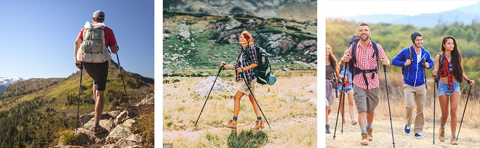 mango de espuma EVA correa y para senderismo AUTOPkio Bast/ón de trekking con bolsa de transporte antichoque