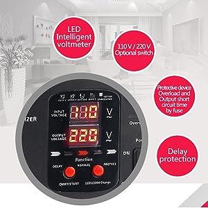 Transformador Elevador//Reductor de Voltaje de 1500 Vatios EE.UU - Convertidor de Energ/ía de 220 Voltios Yinleader PPT-1600 220V // 110V 1500W Estabilizador de voltaje autom/ático