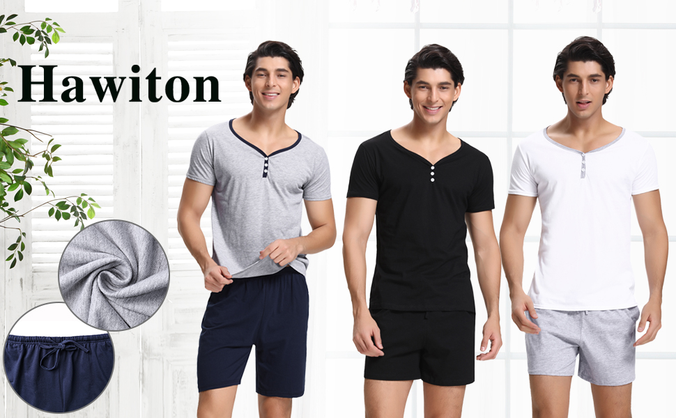 Hawiton Pijama Hombre Verano Corto de 100% Algodón Pijamas para Hombres con Pantalón, Simple y Generoso: Amazon.es: Ropa y accesorios