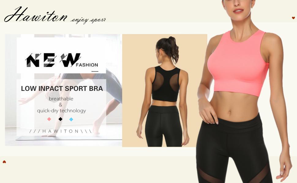 Aibrou Sujetador Deportivo para Mujer de Bajo Impacto con Almohadillas Extraíbles Sujetador Deportivo con Relleno Gimnasio Yoga Fitness Ejercicio