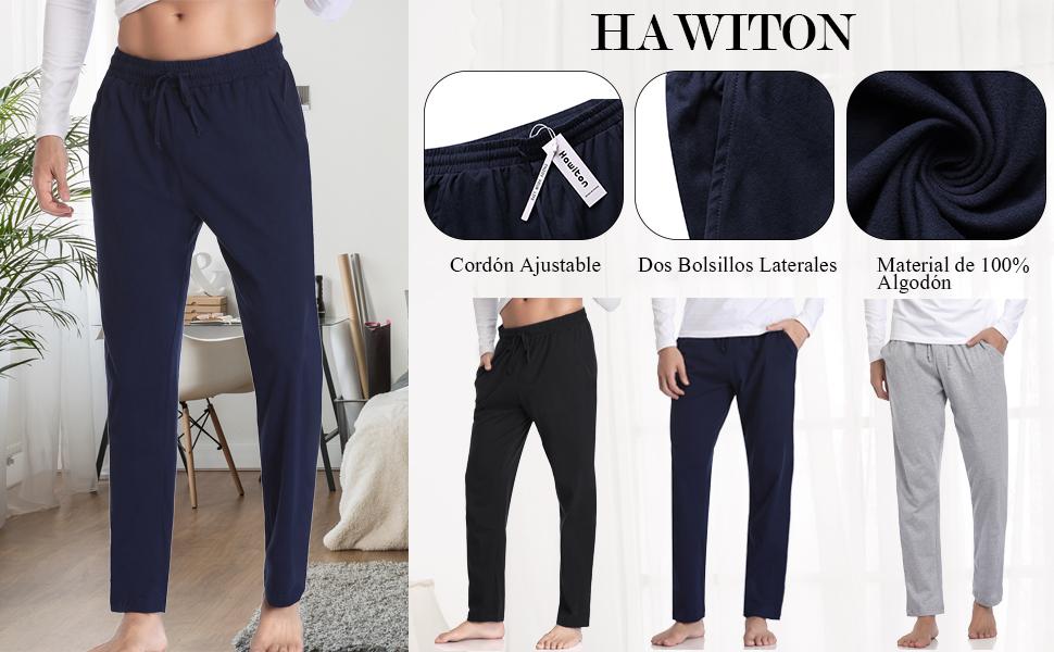 Hawiton Pantalones de Pijama Hombre Invierno Largo de 100% Algodón Primavera: Amazon.es: Ropa y accesorios