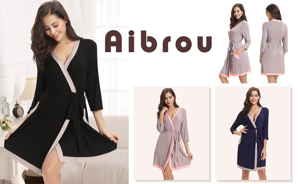 Aibrou Bata Kimono Mujer Algodón con Cinturón Pijama Invierno Corto Albornoz Ropa de Dormir Manga Largas, Suave y Cómodo