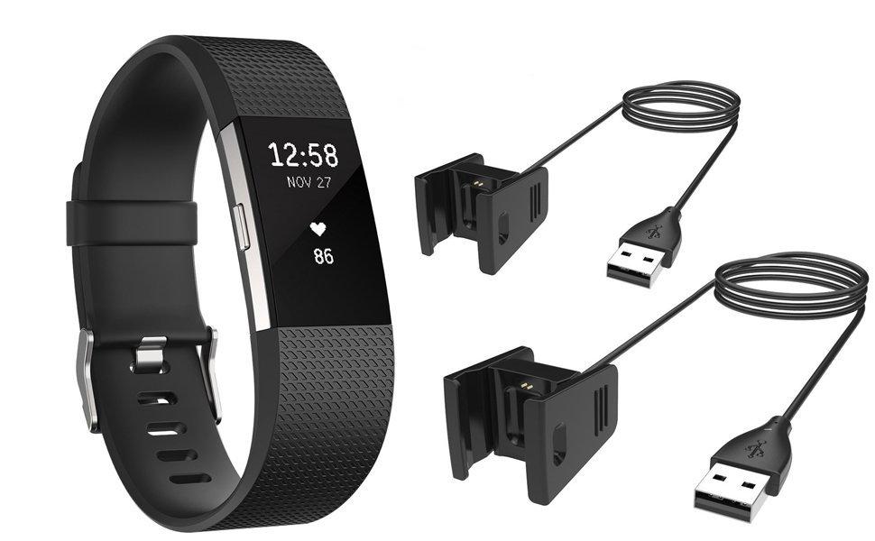 2 Cables de Carga USB para Fitbit Charge 2 Wireless Activity, AFUNTA Un Conjunto de 2 Cables para Smartwatch