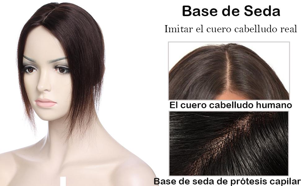Extensiones de Cabello Natural Clip Prótesis Capilar Mujer 100% Remy Pelo Humano Ideados para Ampliar el Volumen en en La Coronilla Flequillo Postizo ...