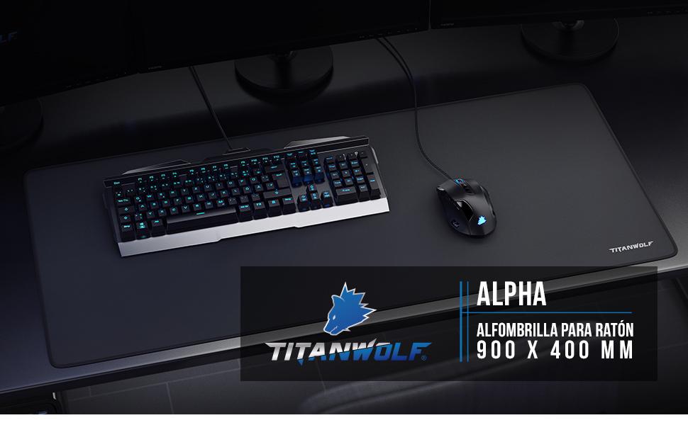 TITANWOLF - XXL Alfombrilla para ratón 900 x 400 mm