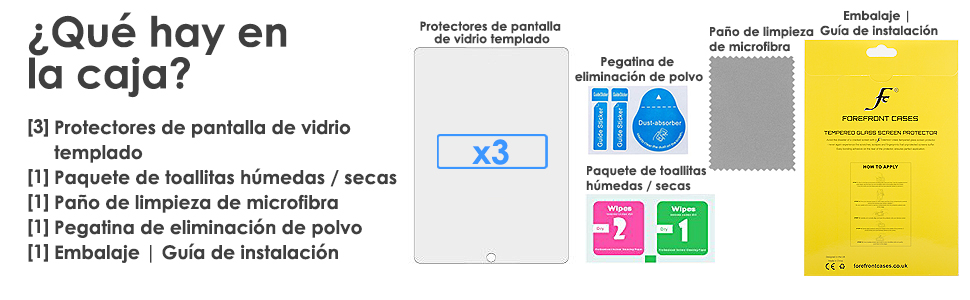 forefront cases protectores de pantalla de Vidrio templado para iPad 9.7