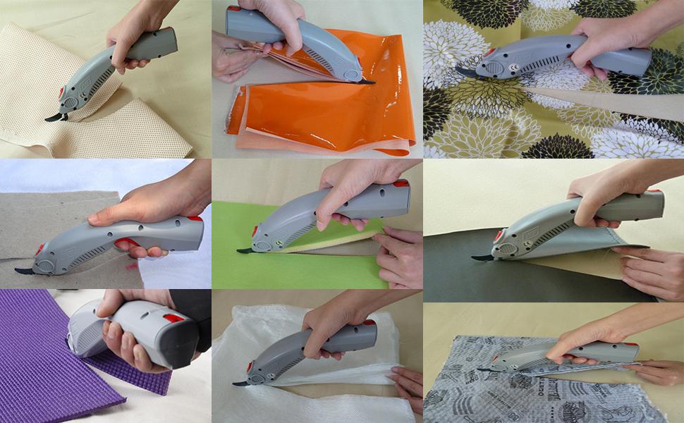 Rango de corte (depende de los materiales) 10 mm: ropa interior, tela, textil, géneros de punto, fieltro, manta, cortina ...