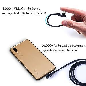 VIUME Cable USB C, Cable Tipo C Codo USB 90º, Cargador Tipo C Forma L Nylon Trenzado USB Cable Carga Rápida para Galaxy S8/9, Huawei, y Todos los ...