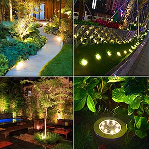 Luces Solares para Exterior Jardin 8 leds, 4Pcs 100LM Luz Cálida IP65 Focos led Exterior Solar Acero Inoxidable Luz de Jardin Lámparas Suelo Iluminación para Yard Paisaje Driveway Lawn Pathwa Camino: Amazon.es:
