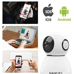 NAIXUES Camara IP WiFi, 1080P Cámara de Vigilancia Inalámbrico de Interior para Cámara de Seguridad, Audio Bidireccional, Detección de Movimiento, ...