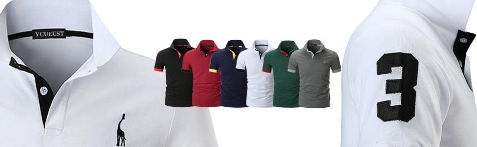 YCUEUST Hombre Polos Manga Corta Básico Polo con Botones Camisetas ...