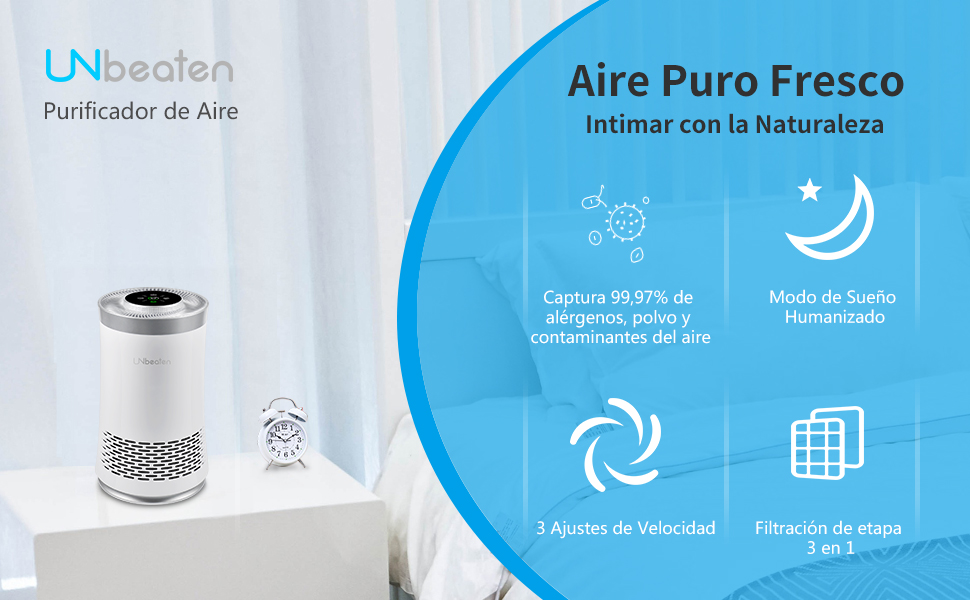 UNbeaten Purificador de Aire para Hogar con Filtro HEPA y Carbón ...