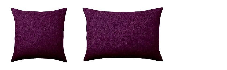 ADP Home - 2 Fundas de Cojín 30x50 CM con Cremallera (Tejido Loneta) Púrpura