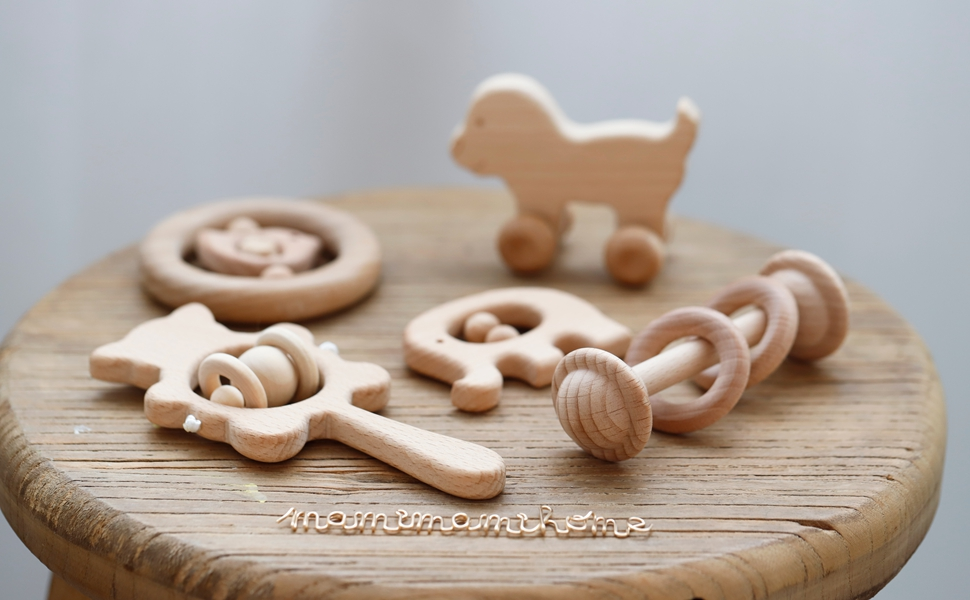 Mamimami Home 5PC Bebé mordedor de madera juguetes madera de haya ...
