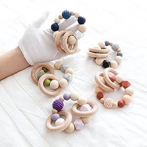 Mamimami Home 3PC actividades colgar juguetes del cochecito de bebé juguetes asiento cochecito juguete con campana de timbre chupetero cadena chupetes ...