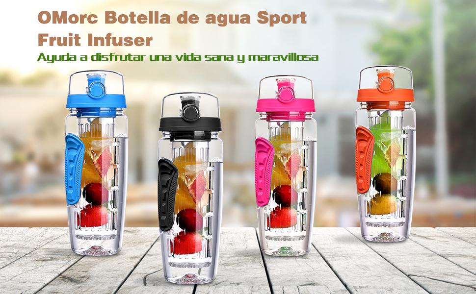 OMORC Botella Agua Deportiva, 1 Litro con Filtro Infusor de Fruta ...