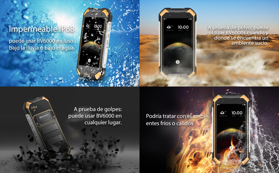 "Blackview BV6000s - Teléfono Resistente (4500mAh Batería Carga 5V/2A Rápida, Quad-Core 2GB RAM + 16GB ROM, 4.7"" HD, 8MP Cámara, Android 7.0 Móvil ..."