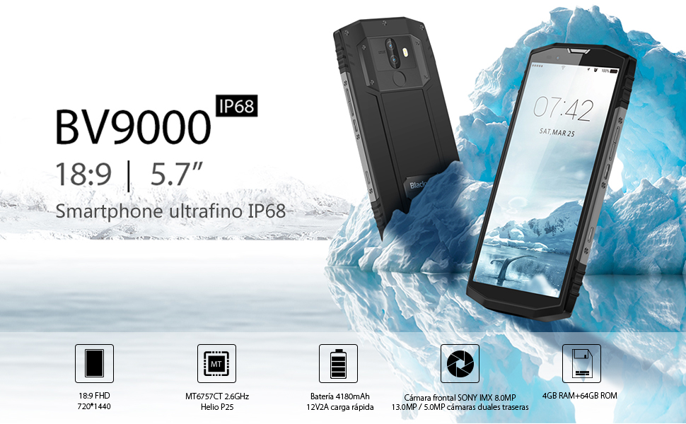 Smartphone Resistente, Blackview BV9000 IP68 Impermeable, 4180mAh ...