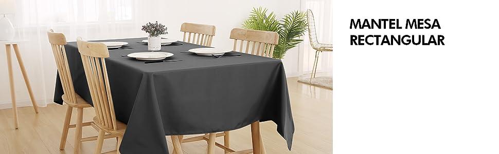 Deconovo Mantel para Mesa Rectangular de Salón 130 x 280 cm Gris: Amazon.es: Hogar