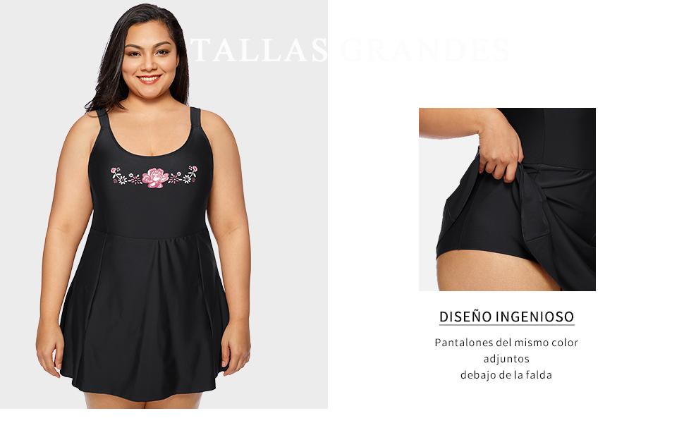 DELIMIRA - Bañador con Falda Traje de baño de Una Pieza Plus Talla para Mujer: Amazon.es: Ropa y accesorios