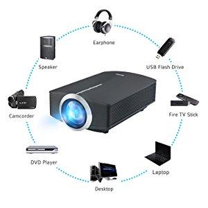 Proyector, Deeplee DP500 Mini Proyector LCD de 2000 Lumen ...