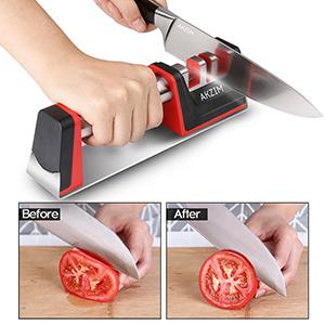 Afilador de Cuchillos, AKZIM Profesional Afilador Cuchillos de Cocina de 3 Etapas para Cuchillos de Todo tamaño del hogar