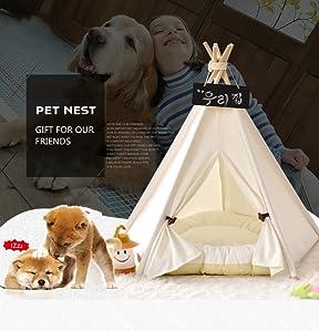 Cueva Gato, Perro Cueva Carpa Cama extraíble y lavable de algodón suave para perro gato mascotas cama casa de gato mascotas perro - Blanco-Estera L