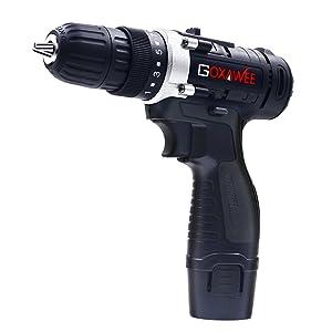 37b08792200e8 GOXAWEE Herramienta - Destornillador Electrico - 12V Taladro Atornillador  con 2 Baterías   100 Accesorios Multiusos