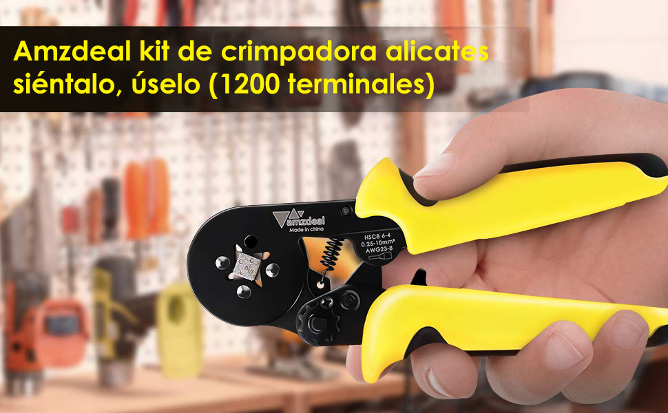 Amzdeal Alicate terminales kit de crimpadora alicates con 1*crimpador de cable