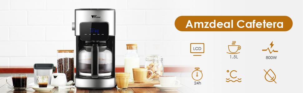 Amzdeal Cafetera de Goteo - Máquina de Café Programable, Pantalla Táctil con Temporizador, Anti-goteo, Aislamiento Térmico, Cafetera de Filtro, ...