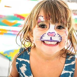 amzdeal Pintura Facial con 14 Colores Pintura Cara para la Fiesta Navidad Kit de Pintura Maquillaje como Regalos de los niños con Polvo Brillo*2, ...