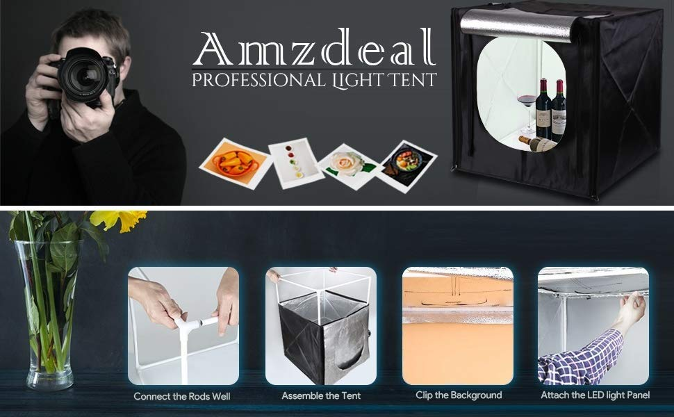 Amzdeal Caja de Fotografía Caja de Luz Portátil 50 x 50 x 50 cm para Hacer Fotos con 3 Fondos(Blanco/Negro/Naranja)+ 2 Tiras de LED y Bolsa de Transporte,Nueva versión: Amazon.es: Electrónica