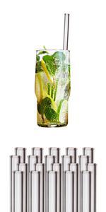Pajitas cristal reutilizables ecológicas sin plástico sostenible pajitas de vidrio cocktail batido