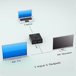 AUKEY Switch HDMI Bidireccional 2 Entradas a 1 Salida Soporta 3D y ...