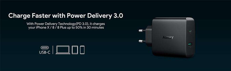 AUKEY USB C Cargador de Red 56,5W USB cargador, 1 puerto con 46W Power Delivery 3.0 & 5V / 2,1A Cargador Móvil para MacBook / Pro,Samsung, Google ...