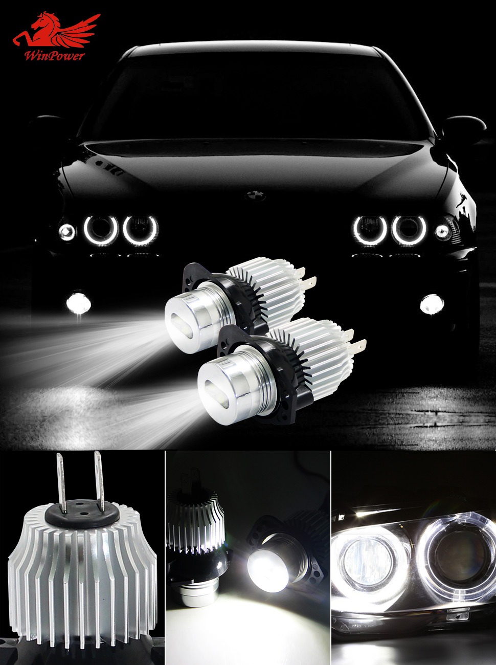 Win Power Super Bright 6W LED Aangel Eyes para BMW E90 E91 (2 piezas / conjunto)
