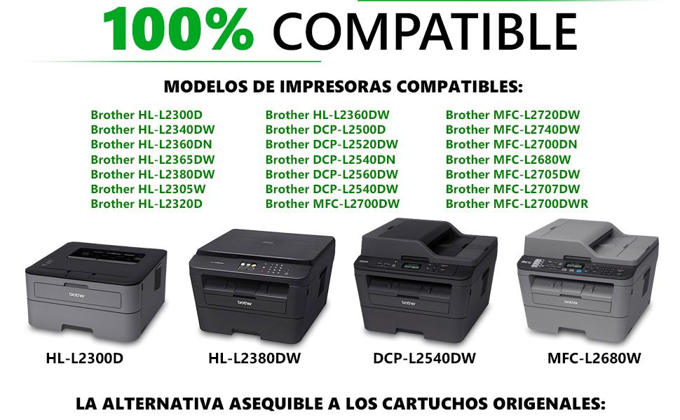GadFull Tóner compatible con Brother HL-L2300D | L2340DW | L2360DN | L2365DW | DCP-L2500D | L2520DW | L2540DN | MFC-L2700DW | L2720DW | Corresponde al ...