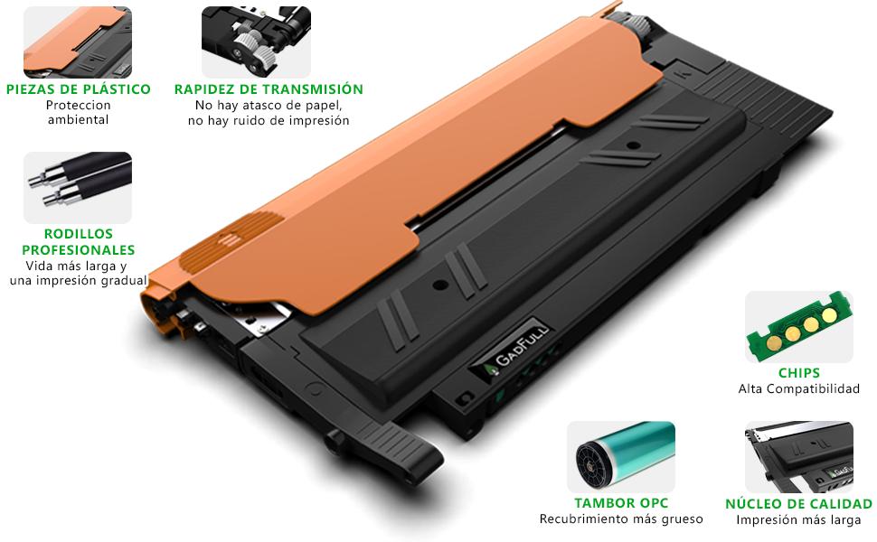 GadFull Paquete de 4 Tóneres compatibles con Samsung CLP-360 | CLP-366 | CLP-365 | CLP-368 | CLX-3300 | CLX-3305 | CLX-3306 | C460W | C410W | ...