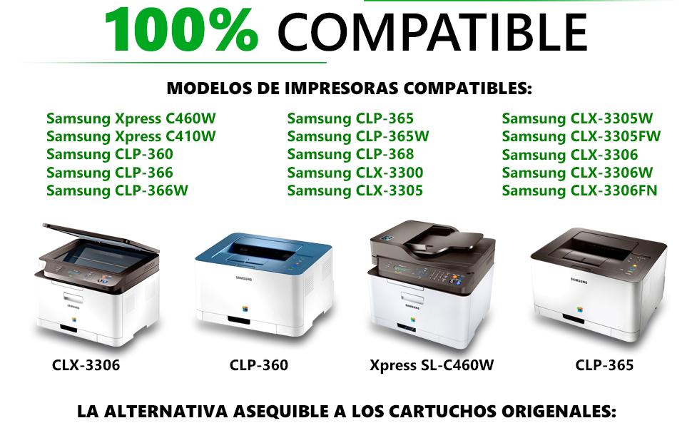 GadFull Paquete de 4 Tóneres compatibles con Samsung CLP-360 | CLP ...