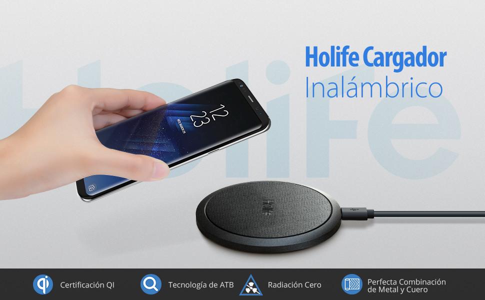 Holife Cargador Inalámbrico,【Qi Certificado】 Cargador Inalámbrico Rápido [Radiación Cero, Antideslizante] 10w para Galaxy S8/S8 +/Galaxy S9/S9 ...