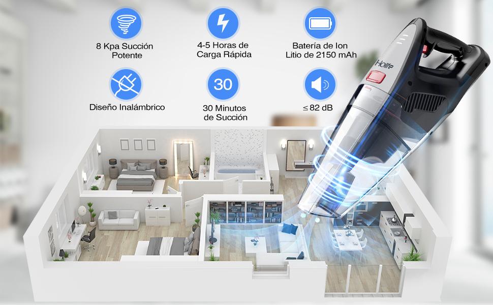 Holife Aspiradora de Mano Sin Cable, Aspirador de Potencia Alta, [8Kpa 22.2V 100W] Indicador LED, Batería Recargable, Uso Húmedo y Seco, Tec de Cyclone, con Bolsa de Almacenamiento: Amazon.es: Hogar