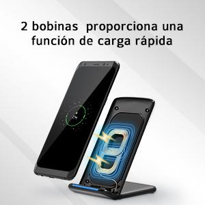 Holife Cargador Inalámbrico Rapido, Cargador Inalámbrico con QC 3.0 Adaptador Rápido para Galaxy S9/S9+/S8/S8 Plus/S7/S7 Edge/Note 8/S6 Edge+, 5W para ...
