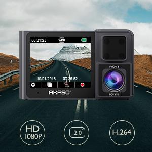 AKASO Cámara de Coche Dual Dash CAM Videocámara 1080P 60 FHD 340° Angular Doble Cámara para Coche Visión Nocturna Modo de estacionamiento G-Sensor ...