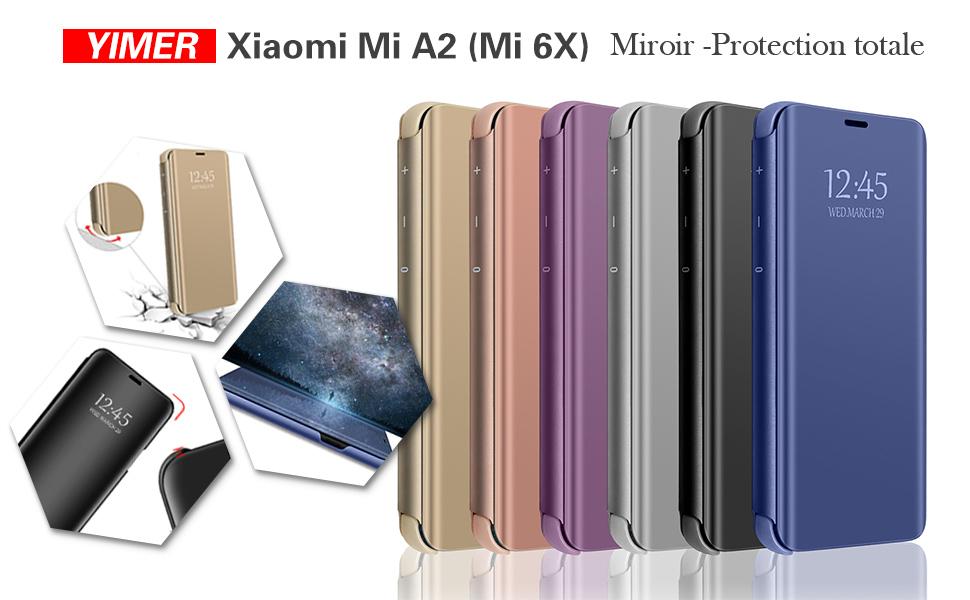 Funda Xiaomi Mi A2 Flip Espejo Case PC Hard Caso Protectora Stand Carcasa Bumper Flexible Ultra-Delgado Anti-Arañazos Resistente para Teléfono Mi 6X ...
