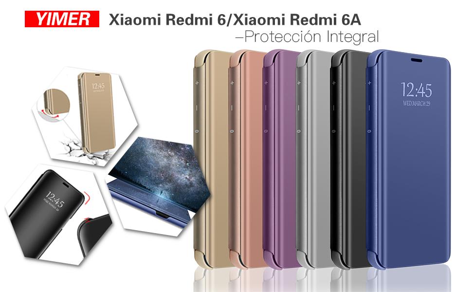 Funda Xiaomi Redmi 6 Flip Espejo Case PC Hard Caso Protectora Stand Carcasa Bumper Flexible Ultra-Delgado Anti-Arañazos Resistente para Teléfono Redmi ...