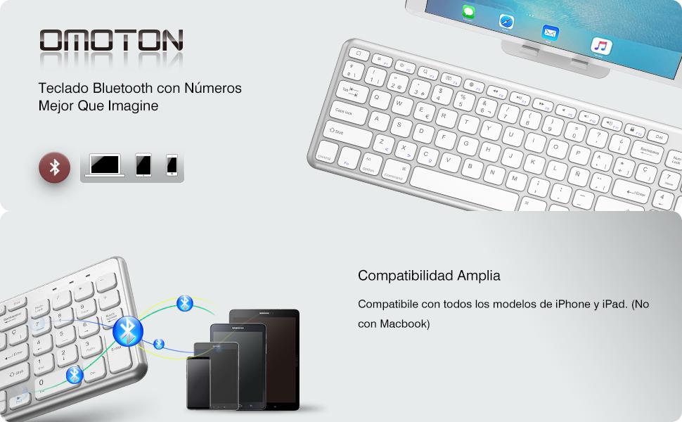 OMOTON Teclado Bluetooth Compatible con iPad y iPhone, Teclado Inalámbrico, Teclado iOS, Teclado Español, con Teclado Numérico, Teclado en Español, ...