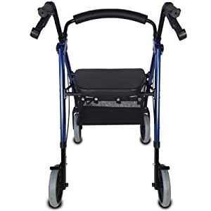 Mobiclinic, Modelo Hércules, Andador para mayores, ancianos, minusvalidos o adultos, de aluminio, ligero, plegable, con asiento y 4 ruedas. Color Azul