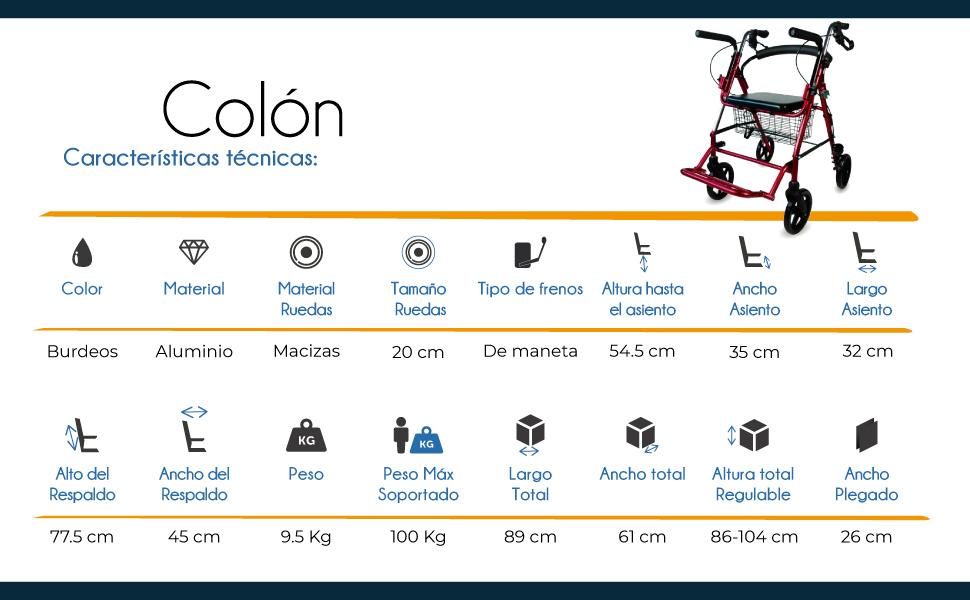 Mobiclinic, Modelo Colón, Andador para minusvalidos, ancianos, adultos o mayores, de aluminio, ligero, plegable, con asiento y 4 ruedas. Color Burdeos