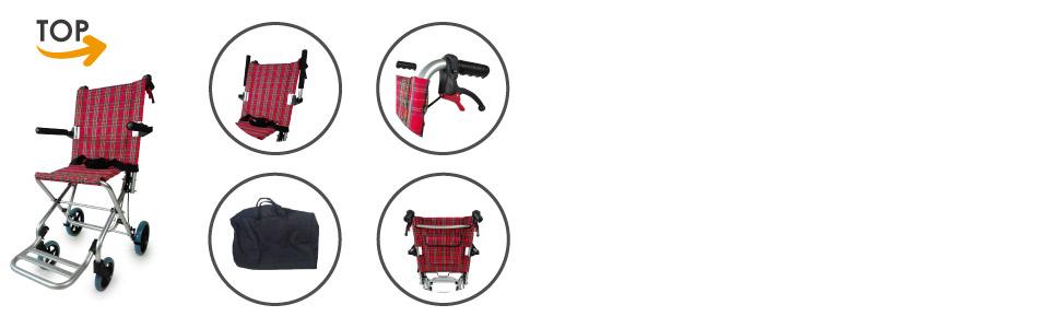 Silla de ruedas para tránsito de aluminio ultraligera y plegable | Reposabrazos y reposapiés abatibles | Asiento y respaldo ergonómicos con diseño de ...